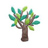 Plasticine  green tree sculpture isolated Royalty Free Stock Photos