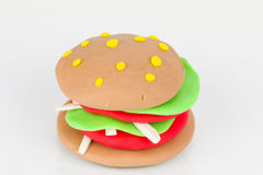 Plasticine  hamburger. Stock Photos