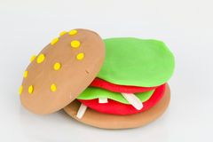 Plasticine  hamburger. Stock Images