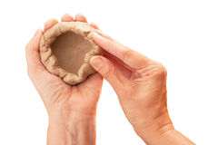 Plasticine in the hand Royalty Free Stock Photo