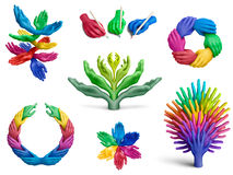 Plasticine hands collection Stock Photo