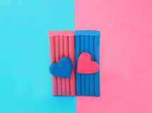 Plasticine with heart. Photo colored plasticine with heart Royalty Free Stock Images