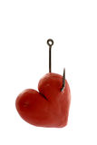 Plasticine heart on hook. Love,  isolated Royalty Free Stock Photography