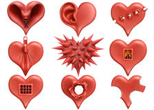 Plasticine hearts collection vector illustration