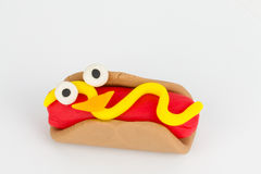 Plasticine hot dog. Stock Photo