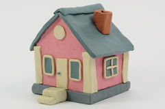 Plasticine house. A plasticine house looks like a typical american house stock photos
