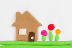 Plasticine  house. Royalty Free Stock Images
