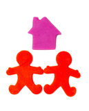 Plasticine house and people Stock Photography