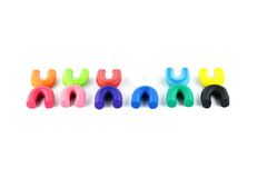 Plasticine kleurrijk in geïsoleerd stock afbeelding