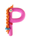 Plasticine letter, bloomer 'P' 2. Plasticine letter, bloomer 'P'. Made in the form of funny girl with orange braid Royalty Free Stock Image