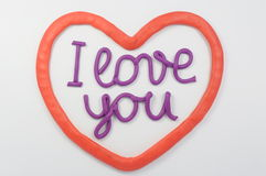 Plasticine lettering I love you Stock Photos