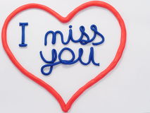 Plasticine lettering I miss you Stock Photo