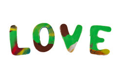 Plasticine letters forming word LOVE written Royalty Free Stock Photography