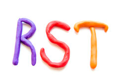 Plasticine letters RST Stock Photo