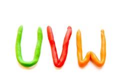 Plasticine letters UVW Stock Photography