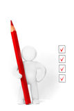 Plasticine man and check boxes Stock Images