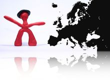 Plasticine man with europe map Stock Photo