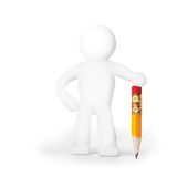 Plasticine man with pencil Royalty Free Stock Photo