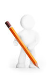 Plasticine man with pencil Royalty Free Stock Photos