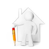 Plasticine man presenting house Royalty Free Stock Photos