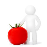 Plasticine man with tomato Royalty Free Stock Images