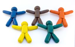 Plasticine men and olympic rings Royalty Free Stock Images