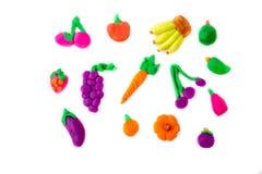Plasticine modelleringsvruchten de oranje pompoen van de druivenmangostan mang stock foto's
