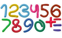 Plasticine numbers stock images