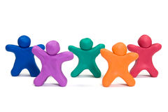 Plasticine people doing exercise Royalty Free Stock Photos