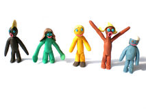 Plasticine people figures saying hi Royalty Free Stock Images