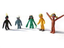 Plasticine people figures saying hi Stock Photos