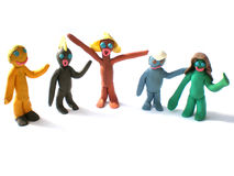 Plasticine people figures saying hi Stock Images