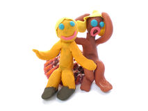 Plasticine people figures saying hi Royalty Free Stock Photo