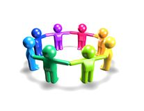 Plasticine peoples holding hands, togetherness and team concept illustration. Stock Images