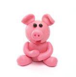 Plasticine pig. Of pink colour Stock Photo