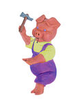 Plasticine pig in purple overalls and yellow shirt with a hammer and nails on a white background Stock Photo