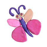 Plasticine pink butterfly Royalty Free Stock Images