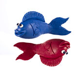 Plasticine Pisces. Pisces, sign of the Zodiac made of plasticine stock image