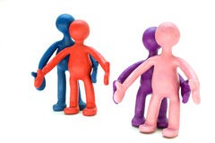 Plasticine puppets pair standing Stock Images