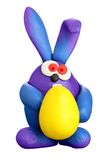 Plasticine rabbit with easter egg Stock Image