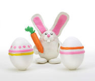Rabbit with easter egg. Plasticine rabbit with easter egg vector illustration