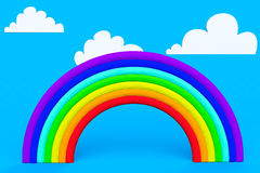 Plasticine rainbow with white clouds Royalty Free Stock Photos