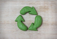 Plasticine recycle symbol. Ecologic source of energy, hand made Royalty Free Stock Image