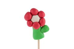 Plasticine red flower Stock Image
