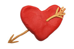 Plasticine red heart Stock Photography