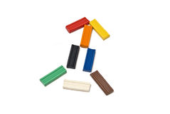 Plasticine rocket. The image of the rocket built of colored bars plasticine Royalty Free Stock Images