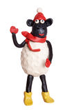 Plasticine sheep. Isolated on white royalty free stock image