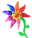 Plasticine smiling flower Royalty Free Stock Images