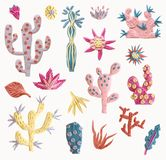 Plasticine succulent illustration. Isolated elements. Unusual st. Plasticine succulent with flowers illustration. Isolated elements. Unusual style, pastel colors stock photos