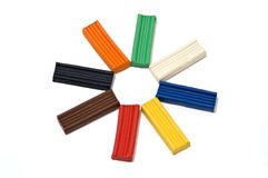 Plasticine sun. The image of the sun built from colored bars plasticine Stock Images